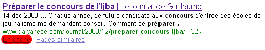 Version de l'article en cache