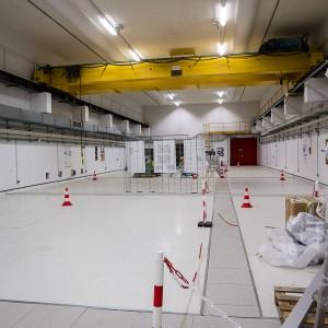 Une des deux salles expérimentales. C'est là que l'impact entre le laser et sa cible aura lieu.