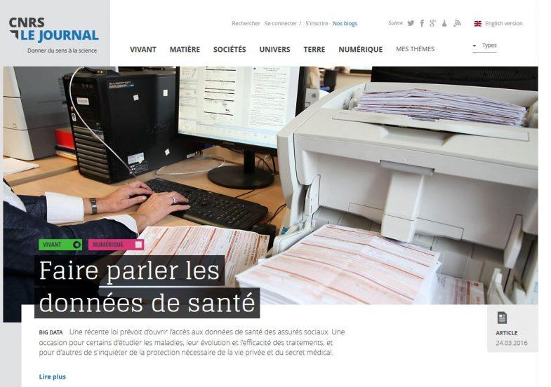 Faire parler les données de santé - CNRS
